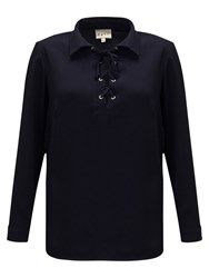 East Tie Front Blouse Sapphire