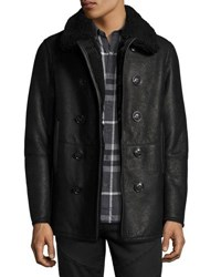 Burberry Iconic Shearling Pea Coat Black