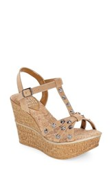 Women's Love And Liberty 'Violet' Spiked T Strap Wedge Sandal Tan Leather
