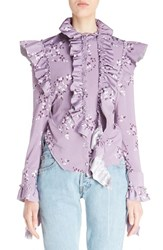 Vetements Women's High Neck Frilled Floral Print Blouse