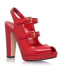 Alexander Mcqueen Double Buckle Heels Female Red