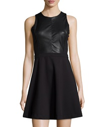 Dex Faux Leather Fit And Flare Dress Black