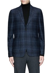 Canali Check Wool Cotton Jersey Blazer Blue