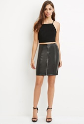 Forever 21 Zip Front Faux Leather Skirt Black