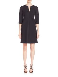 Piazza Sempione Elbow Sleeve Stretch Wool Dress Black