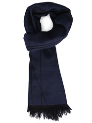 Armani Collezioni Blue And Navy Double Faced Logo Scarf