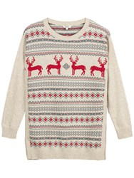 Fat Face Festive Deer Jumper Rosebud
