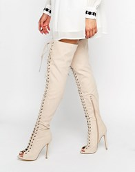 Truffle Collection Lace Up Ghillie Over The Knee Boots Rose Pink Mf