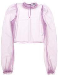 Daizy Shely Sheer Blouse Pink Purple