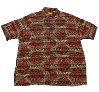 Vintage 90S Tribal Print Rayon Button Up Shirt By Vintagemensgoods