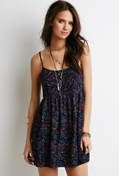 Forever 21 Paisley Print Babydoll Dress Navy Red