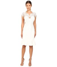 Marchesa Sheer Illusion Top Crepe Cocktail With Beaded Threadwork Appliques And Flared Skirt Ivory
