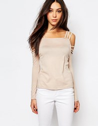 Daisy Street Cold Shoulder Strappy Top Beige