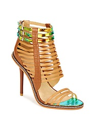 L.A.M.B. Brook Iridescent And Matte Leather Cage Sandals Camel Multi
