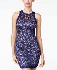 Sequin Hearts Juniors' Sequined Lace Bodycon Dress Navy Sequin