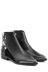 Zadig And Voltaire Patchwork Leather Ankle Boots Black