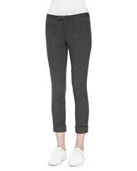 Atm Anthony Thomas Melillo Cropped Ponte Stretch Pants Charcoal Heather