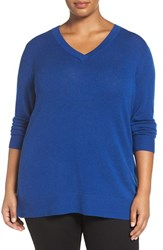 Sejour Plus Size Women's Wool And Cashmere V Neck Sweater Blue True