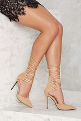 Nasty Gal Strap Minded Lace Up Heel Nude