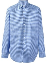 Etro Checked Button Down Shirt Blue