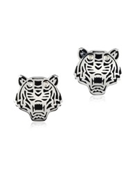 Kenzo Black Lacquer Sterling Silver Mini Tiger Earrings