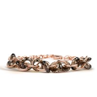 Starrs London Chain Oval Bracelet Gold Rose Gold Brown