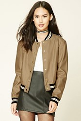 Forever 21 Faux Leather Bomber Jacket Gold