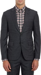 Brooklyn Tailors Plaid Two Button Sportcoat Black