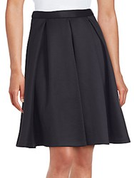 Saks Fifth Avenue Red Solid Pleated Skirt Black