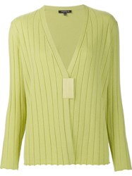 Lafayette 148 New York Ribbed V Neck Cardigan Green