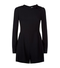 Red Valentino Long Sleeve Playsuit Female Black