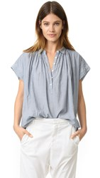 Nili Lotan Stripe Chambray Normandy Blouse Indigo Stripe