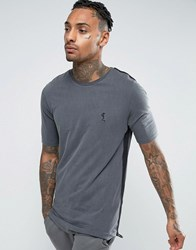 Religion Longline T Shirt With Web Taping Dark Metal Grey