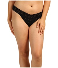 Hanky Panky Plus Size Signature Lace Original Rise Thong Black Women's Underwear