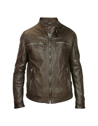 Forzieri Men's Dark Brown Leather Motorcycle Jacket
