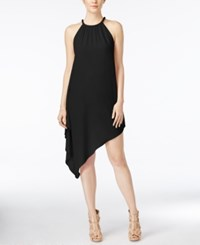 Xoxo Juniors' Braided Trim Asymmetrical Hem Shift Dress Black