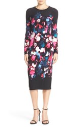 Maggy London Petite Women's Print Jersey Midi Dress Black Hot Pink