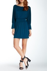 Hodges Collection Banded Waist Draped Dress Blue