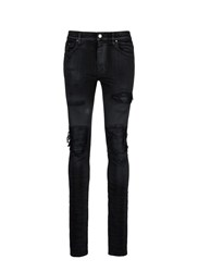 Amiri 'Mx1' Plonge Leather Patchwork Waxed Jeans Black