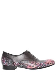 Miharayasuhiro Printed Leather Oxford Lace Up Shoes