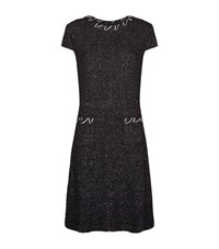 St. John Mesto Boucle Knit Cap Sleeve Dress Female Black