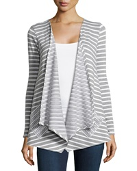Neiman Marcus Drape Front Striped Cardigan Heather Gray