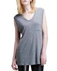T By Alexander Wang Jersey Pocket Muscle Tee Heather Grey Small 4 6