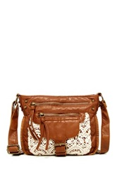 T Shirt And Jeans Crochet Crossbody Brown