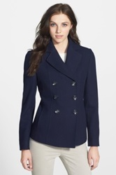 Kenneth Cole New York Wool Blend Peacoat Petite Blue