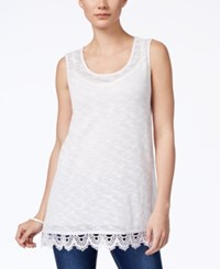 Styleandco. Style And Co. Crochet Hem Tank Top Only At Macy's Bright White