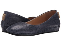 French Sole Zeppa Blue Metallic Lizard Women's Slip On Shoes