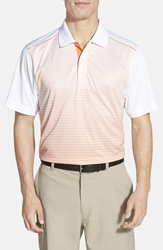 Cutter Buck 'Cabin Ombre Stripe' Drytec Moisture Wicking Golf Polo Daybreak Orange