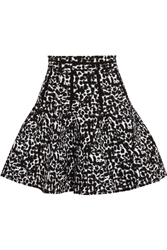 Antonio Berardi Pleated Leopard Print Intarsia Mini Skirt Black