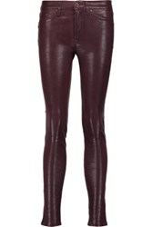 Rag And Bone Stretch Leather Skinny Pants Burgundy